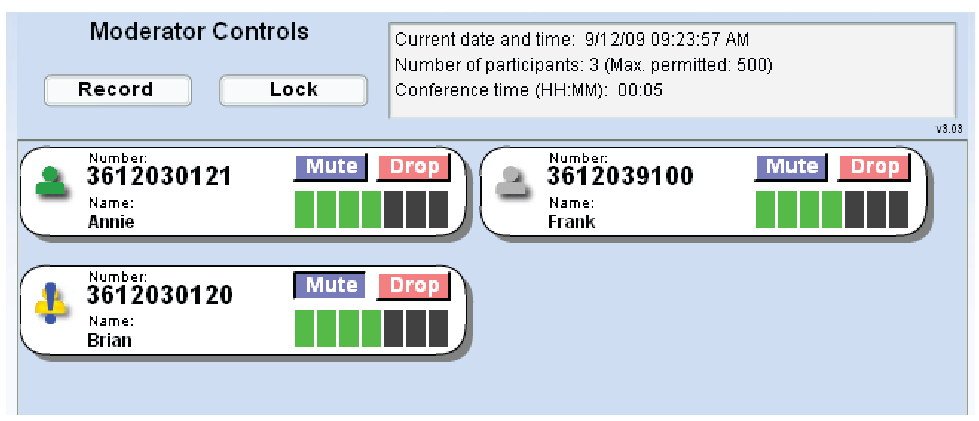 ConferenceConnect Moderator Controls